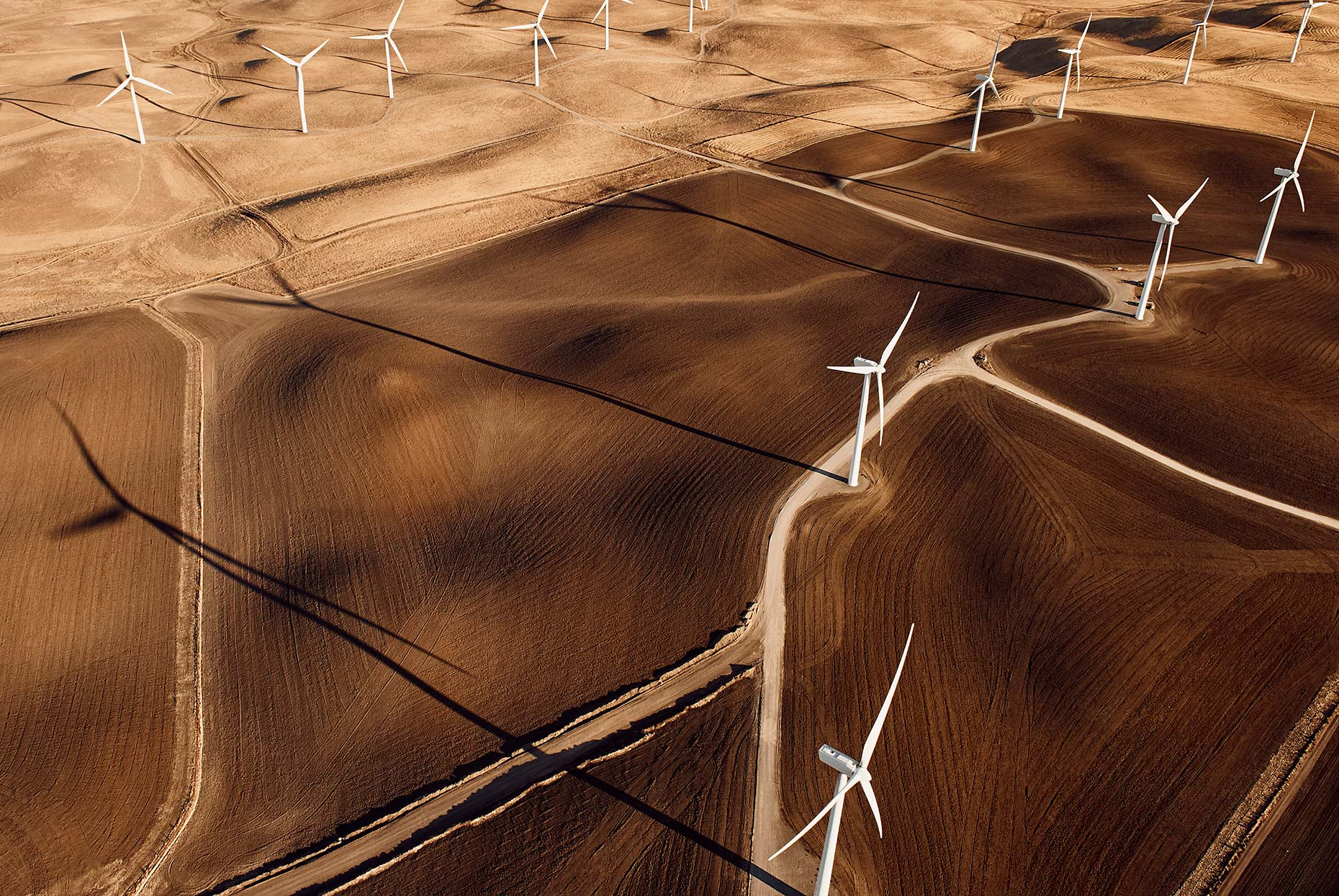 Aerail photograph of California Wind Turbines