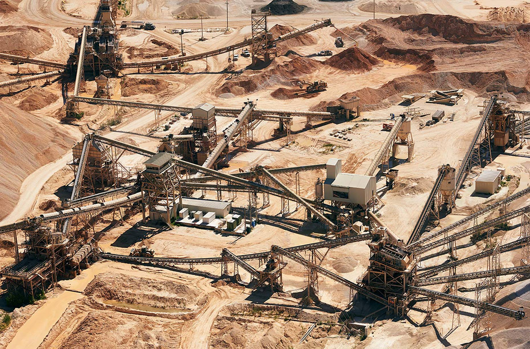 Aerial of a sand mine in Texas
